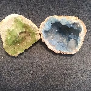 Two beautiful painted geodes